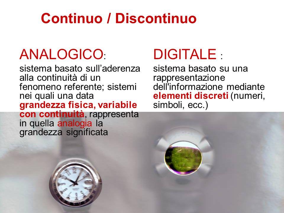 Continuo / Discontinuo ANALOGICO : sistema basato sulladerenza alla continuità di un fenomeno referente; sistemi nei quali una data grandezza fisica,