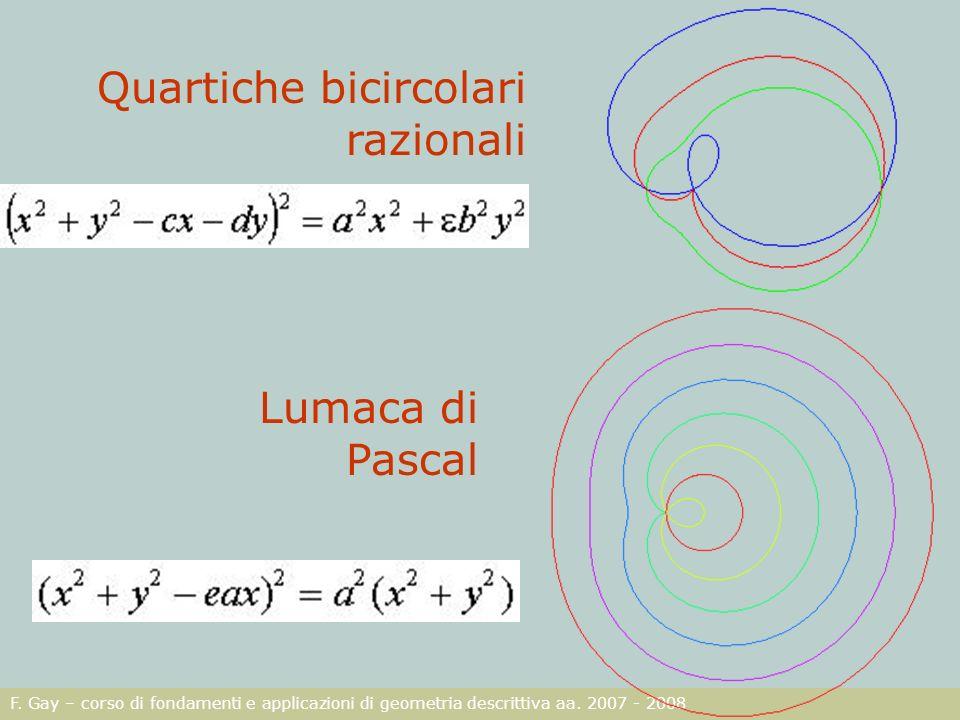 F. Gay – corso di fondamenti e applicazioni di geometria descrittiva aa. 2007 - 2008 Quartiche bicircolari razionali Lumaca di Pascal