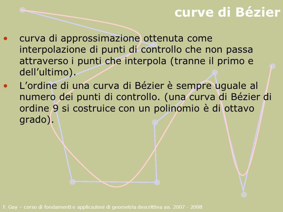 F. Gay – corso di fondamenti e applicazioni di geometria descrittiva aa. 2007 - 2008 curve di Bézier curva di approssimazione ottenuta come interpolaz