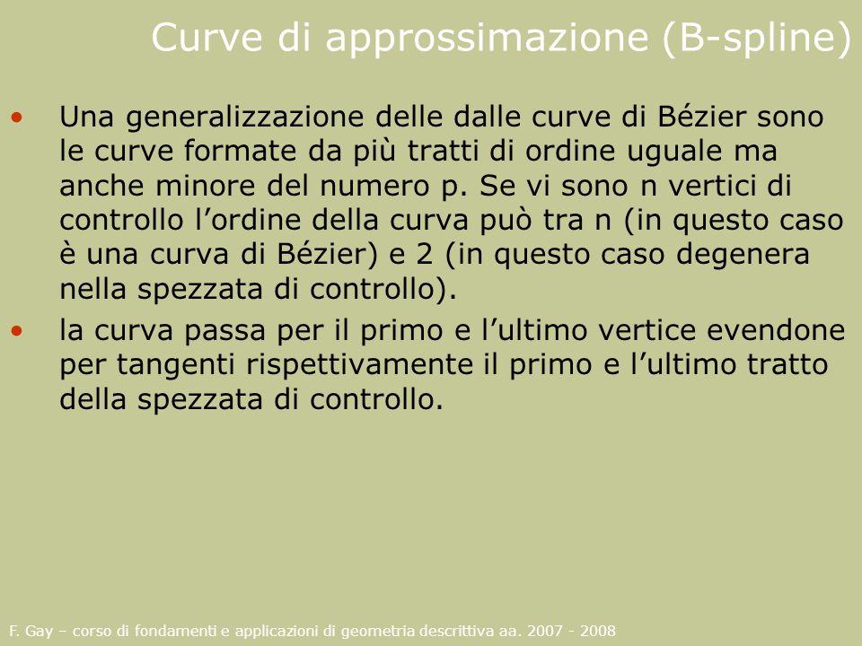 Curve di approssimazione (B-spline) Una generalizzazione delle dalle curve di Bézier sono le curve formate da più tratti di ordine uguale ma anche min