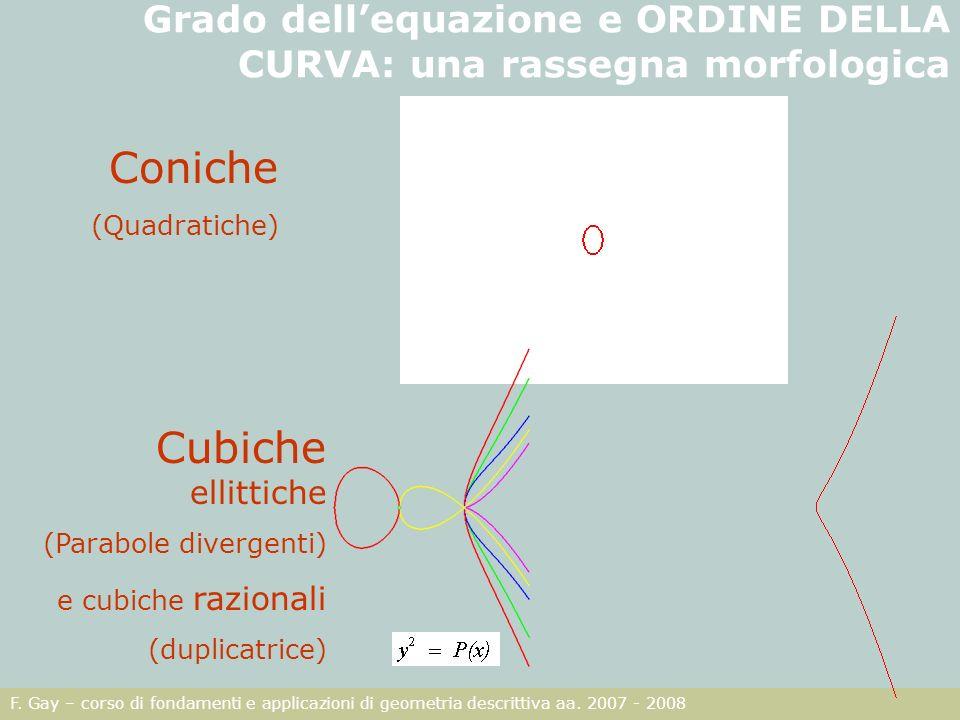 F. Gay – corso di fondamenti e applicazioni di geometria descrittiva aa. 2007 - 2008 Grado dellequazione e ORDINE DELLA CURVA: una rassegna morfologic