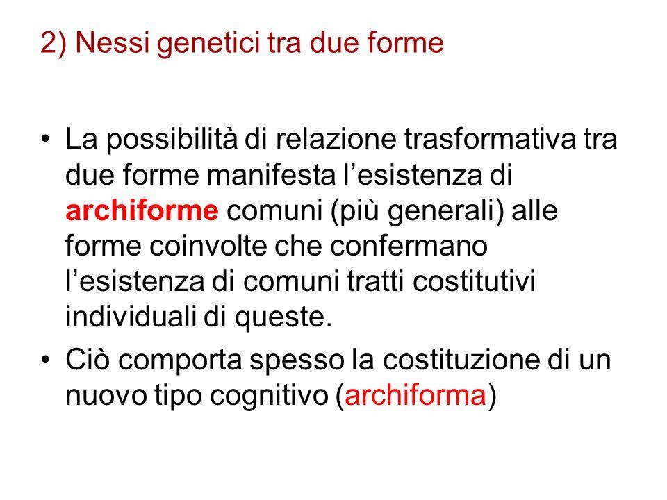 2) Nessi genetici tra due forme La possibilità di relazione trasformativa tra due forme manifesta lesistenza di archiforme comuni (più generali) alle