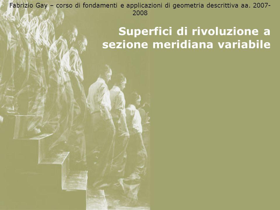 Fabrizio Gay – corso di fondamenti e applicazioni di geometria descrittiva aa. 2007- 2008 Superfici di rivoluzione a sezione meridiana variabile