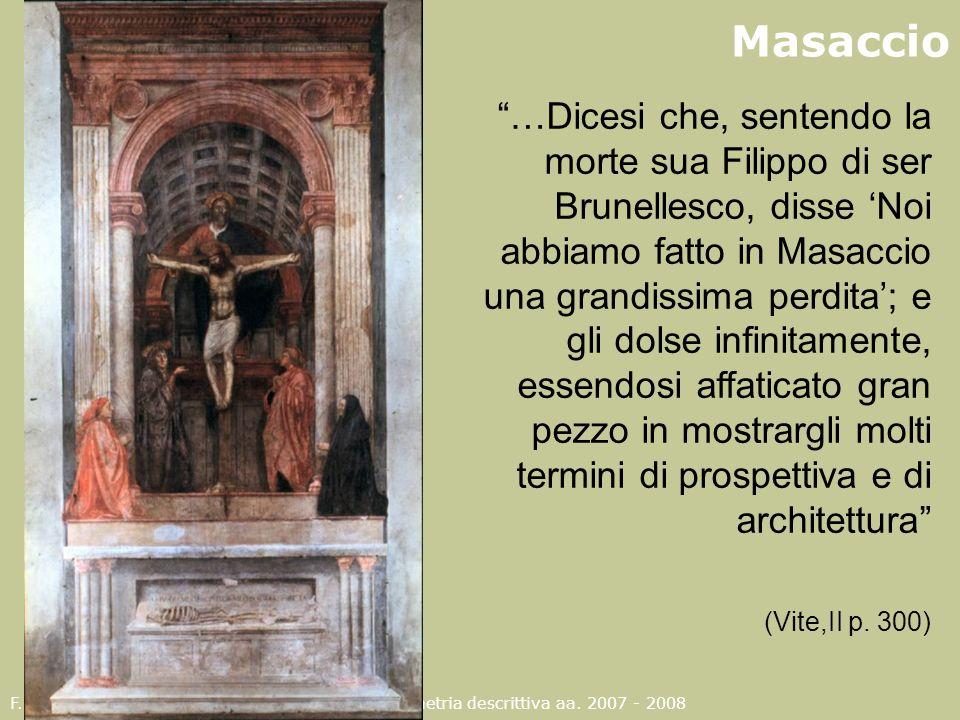 F. Gay – corso di fondamenti e applicazioni di geometria descrittiva aa. 2007 - 2008 …Dicesi che, sentendo la morte sua Filippo di ser Brunellesco, di