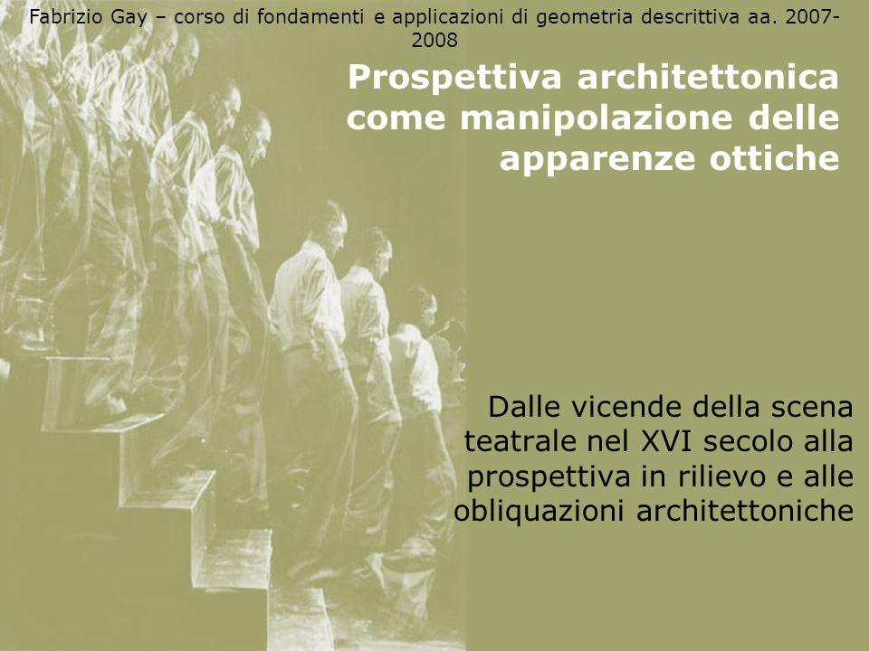 Fabrizio Gay – corso di fondamenti e applicazioni di geometria descrittiva aa. 2007- 2008 Prospettiva architettonica come manipolazione delle apparenz