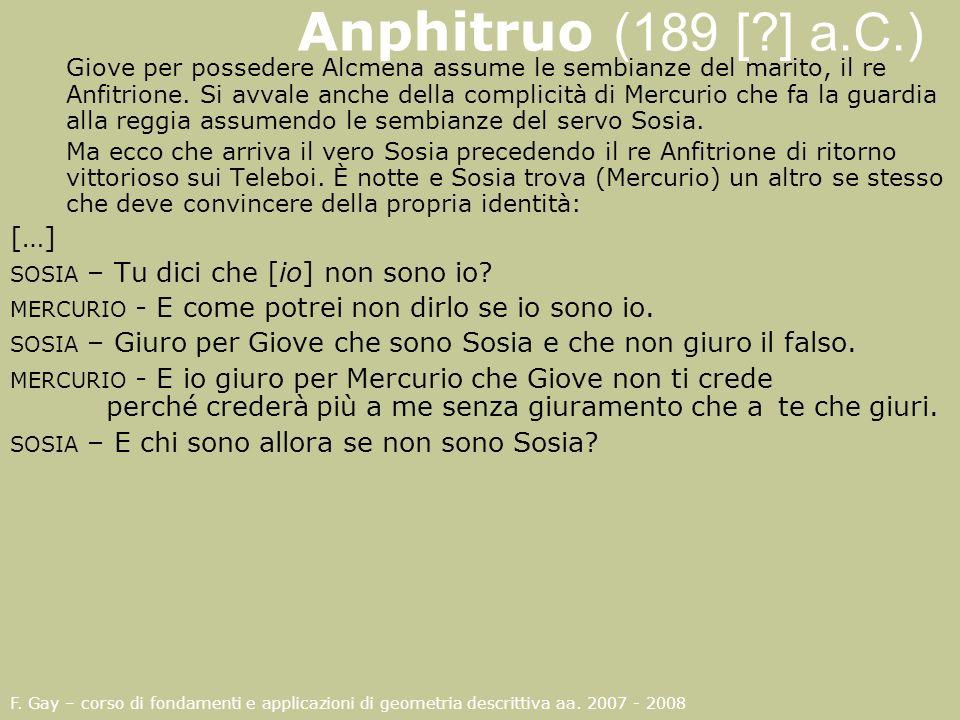 Anphitruo (189 [?] a.C.) Giove per possedere Alcmena assume le sembianze del marito, il re Anfitrione. Si avvale anche della complicità di Mercurio ch