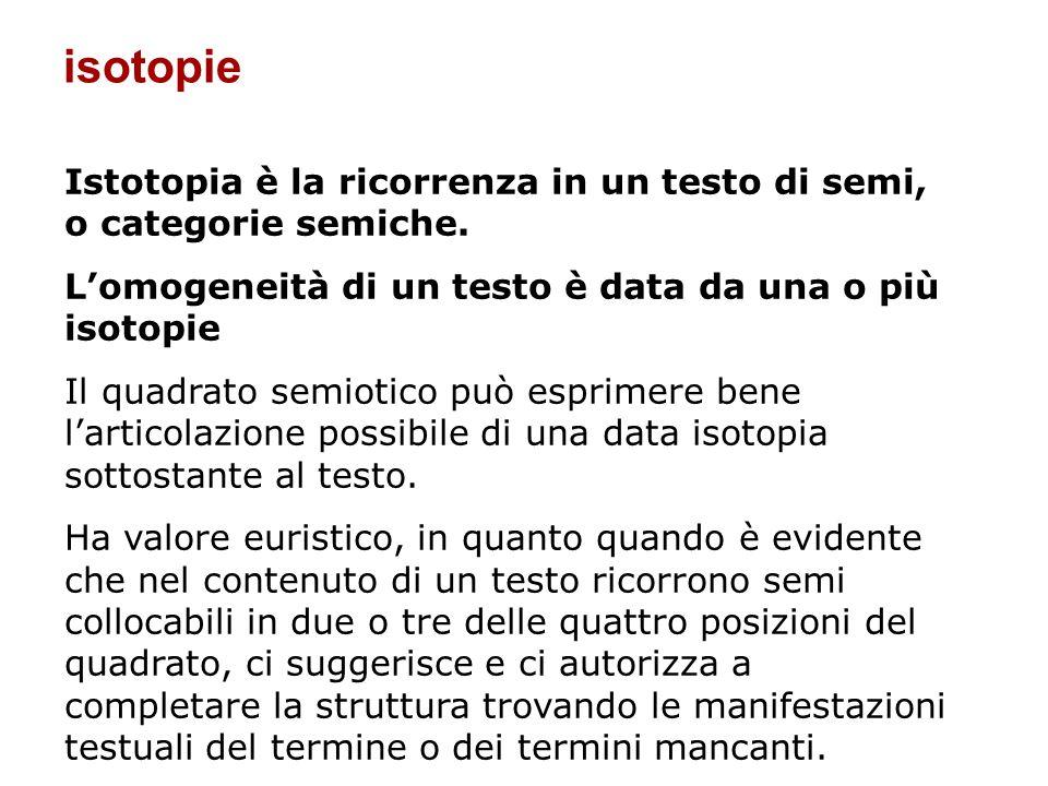 Istotopia è la ricorrenza in un testo di semi, o categorie semiche. Lomogeneità di un testo è data da una o più isotopie Il quadrato semiotico può esp