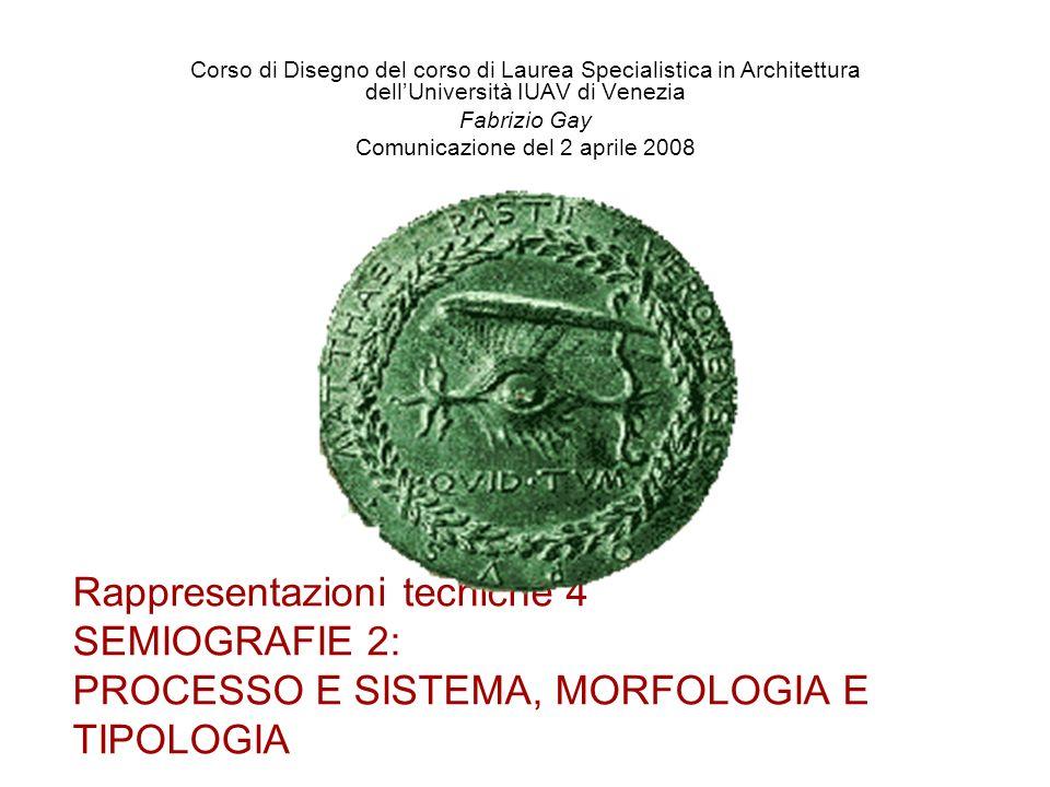 Rappresentazioni tecniche 4 SEMIOGRAFIE 2: PROCESSO E SISTEMA, MORFOLOGIA E TIPOLOGIA Corso di Disegno del corso di Laurea Specialistica in Architettu
