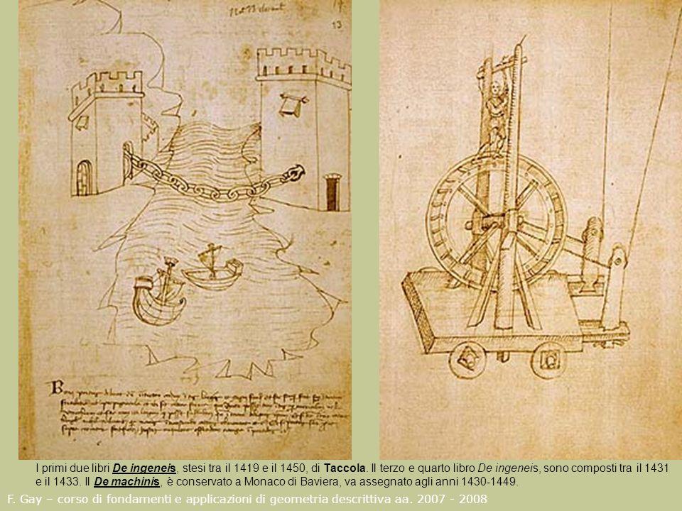 F. Gay – corso di fondamenti e applicazioni di geometria descrittiva aa. 2007 - 2008 I primi due libri De ingeneis, stesi tra il 1419 e il 1450, di Ta