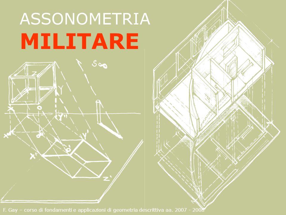 F. Gay – corso di fondamenti e applicazioni di geometria descrittiva aa. 2007 - 2008 ASSONOMETRIA MILITARE