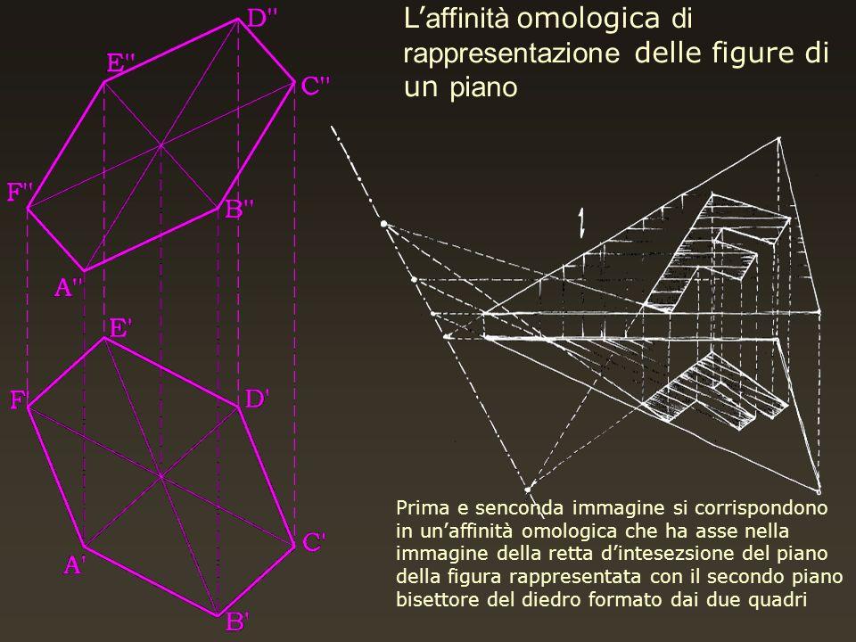 L affinità omologica di rappresentazione delle figure di un piano Prima e senconda immagine si corrispondono in unaffinità omologica che ha asse nella