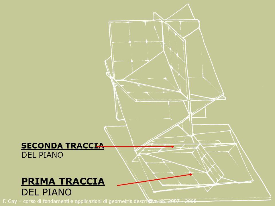 F. Gay – corso di fondamenti e applicazioni di geometria descrittiva aa. 2007 - 2008 PRIMA TRACCIA DEL PIANO SECONDA TRACCIA DEL PIANO
