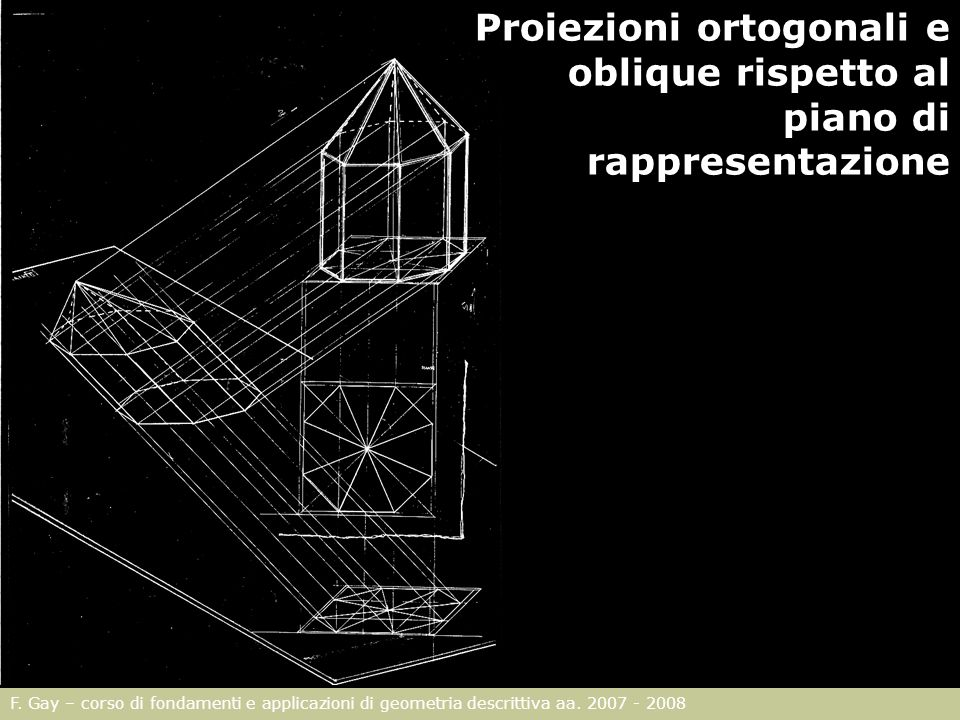 F. Gay – corso di fondamenti e applicazioni di geometria descrittiva aa. 2007 - 2008 Proiezioni ortogonali e oblique rispetto al piano di rappresentaz