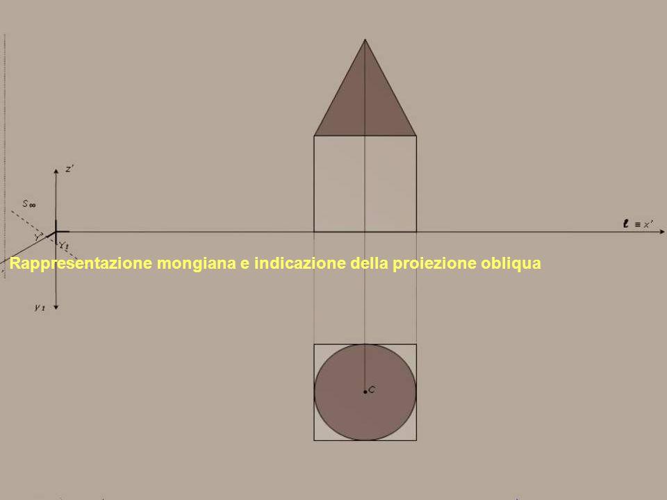 Rappresentazione mongiana e indicazione della proiezione obliqua