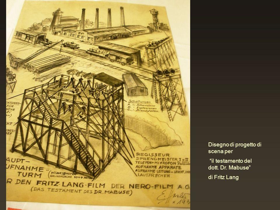 Disegno di progetto di scena per il testamento del dott. Dr. Mabuse di Fritz Lang