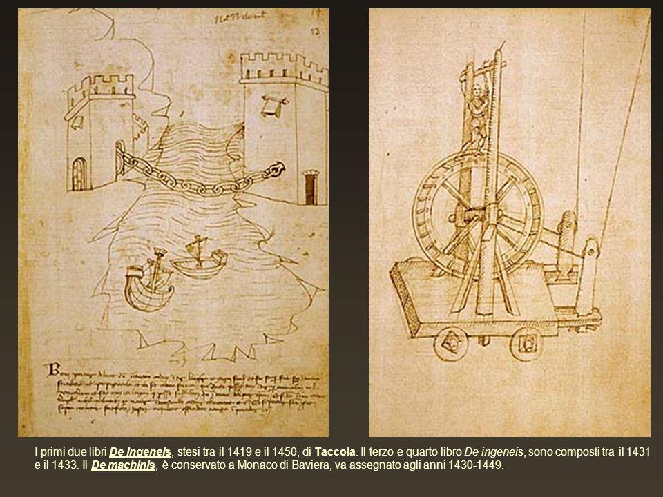 I primi due libri De ingeneis, stesi tra il 1419 e il 1450, di Taccola. Il terzo e quarto libro De ingeneis, sono composti tra il 1431 e il 1433. Il D