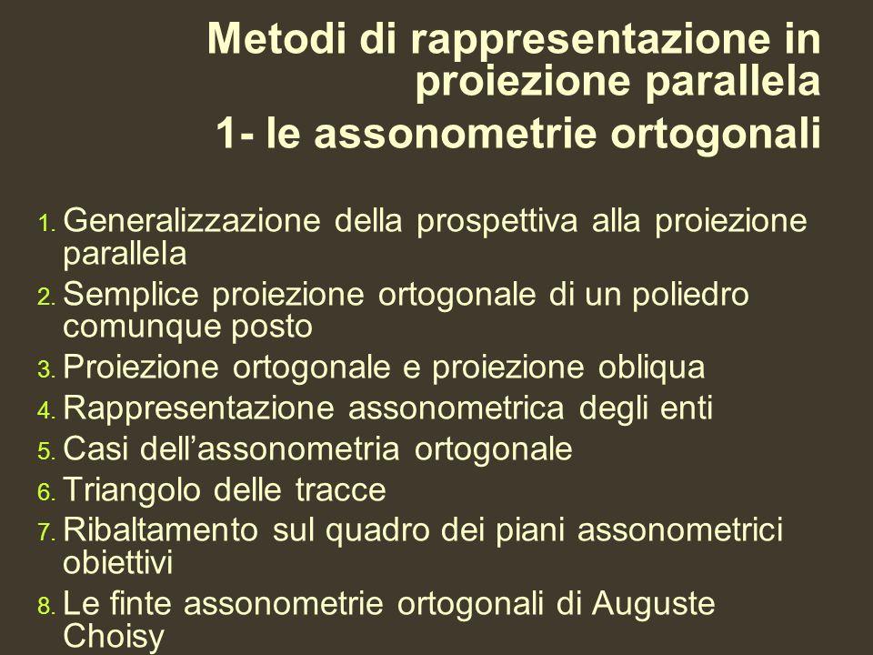 Metodi di rappresentazione in proiezione parallela 1- le assonometrie ortogonali 1. Generalizzazione della prospettiva alla proiezione parallela 2. Se