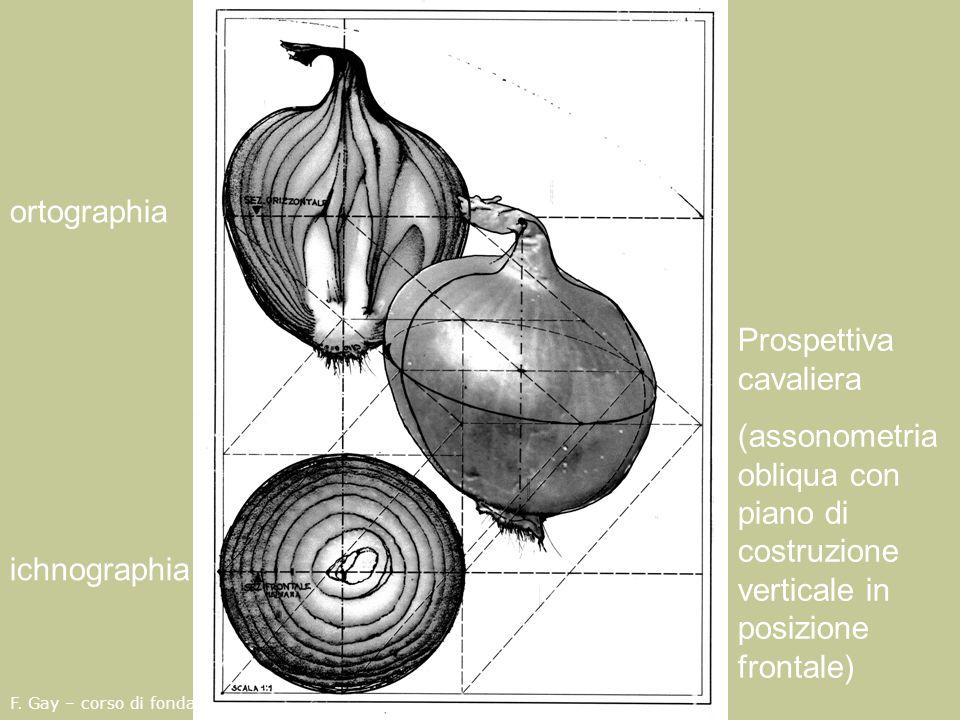 F. Gay – corso di fondamenti e applicazioni di geometria descrittiva aa. 2008-2009 ichnographia ortographia Prospettiva cavaliera (assonometria obliqu