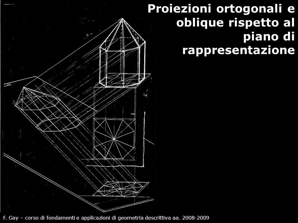 F. Gay – corso di fondamenti e applicazioni di geometria descrittiva aa. 2008-2009 Proiezioni ortogonali e oblique rispetto al piano di rappresentazio