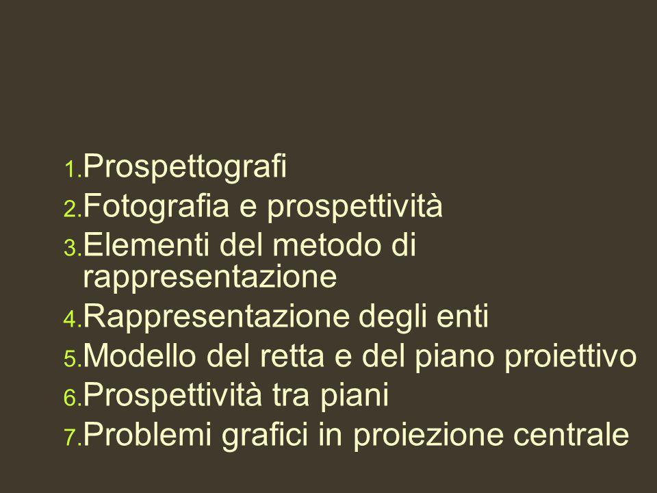 1. Prospettografi 2. Fotografia e prospettività 3. Elementi del metodo di rappresentazione 4. Rappresentazione degli enti 5. Modello del retta e del p