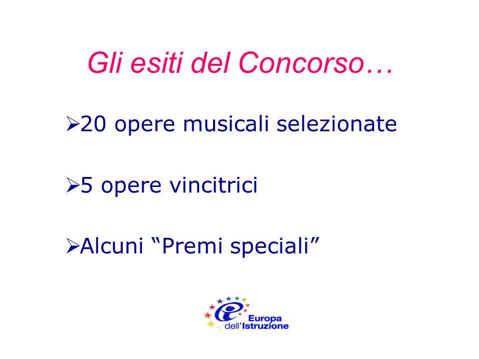 Gli esiti del Concorso… 20 opere musicali selezionate 5 opere vincitrici Alcuni Premi speciali