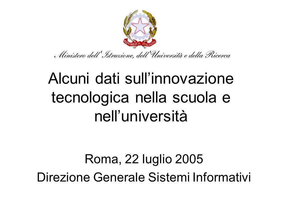 Alcuni dati sullinnovazione tecnologica nella scuola e nelluniversità Roma, 22 luglio 2005 Direzione Generale Sistemi Informativi