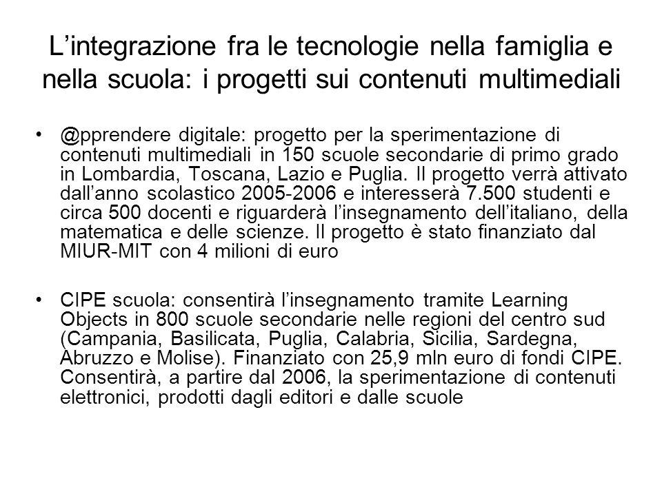 Lintegrazione fra le tecnologie nella famiglia e nella scuola: i progetti sui contenuti multimediali @pprendere digitale: progetto per la sperimentazione di contenuti multimediali in 150 scuole secondarie di primo grado in Lombardia, Toscana, Lazio e Puglia.