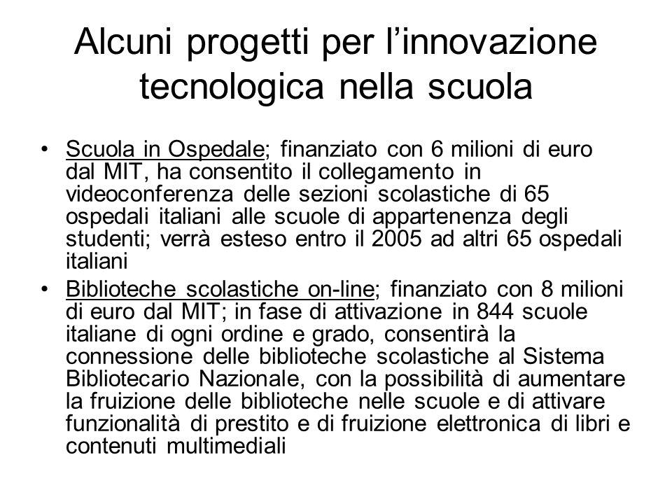 Alcuni progetti per linnovazione tecnologica nella scuola Scuola in Ospedale; finanziato con 6 milioni di euro dal MIT, ha consentito il collegamento in videoconferenza delle sezioni scolastiche di 65 ospedali italiani alle scuole di appartenenza degli studenti; verrà esteso entro il 2005 ad altri 65 ospedali italiani Biblioteche scolastiche on-line; finanziato con 8 milioni di euro dal MIT; in fase di attivazione in 844 scuole italiane di ogni ordine e grado, consentirà la connessione delle biblioteche scolastiche al Sistema Bibliotecario Nazionale, con la possibilità di aumentare la fruizione delle biblioteche nelle scuole e di attivare funzionalità di prestito e di fruizione elettronica di libri e contenuti multimediali