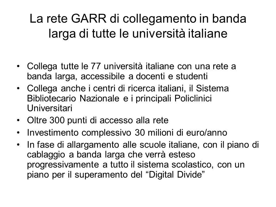 La rete GARR di collegamento in banda larga di tutte le università italiane Collega tutte le 77 università italiane con una rete a banda larga, access