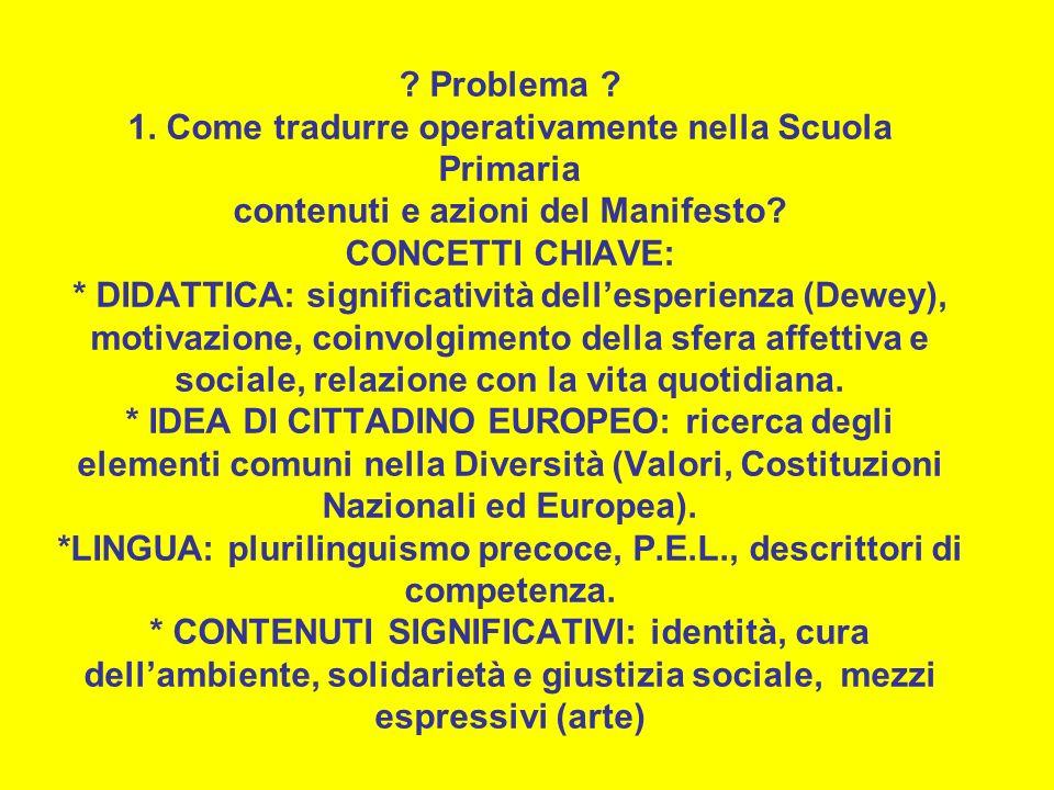 Problema . 1. Come tradurre operativamente nella Scuola Primaria contenuti e azioni del Manifesto.