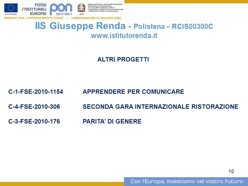 10 IIS Giuseppe Renda - Polistena – RCIS00300C www.istitutorenda.it ALTRI PROGETTI C-1-FSE-2010-1154APPRENDERE PER COMUNICARE C-4-FSE-2010-306 SECONDA