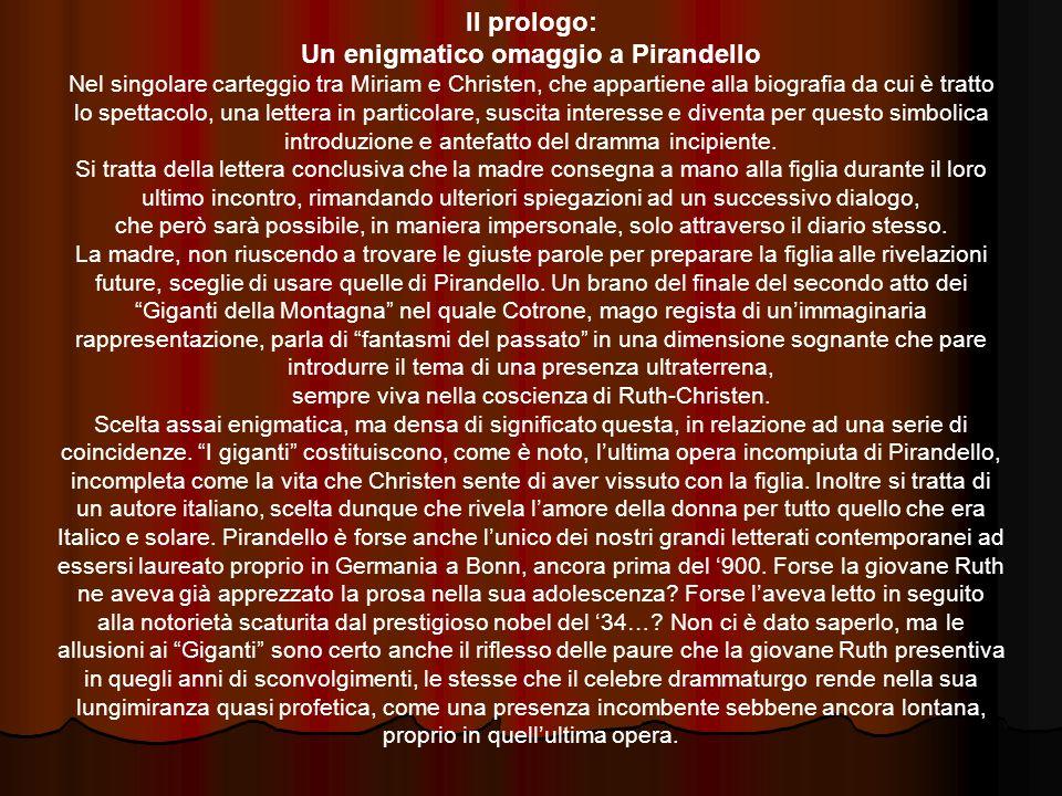 Il prologo: Un enigmatico omaggio a Pirandello Nel singolare carteggio tra Miriam e Christen, che appartiene alla biografia da cui è tratto lo spettac