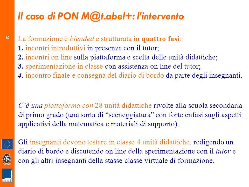 10 Il caso di PON M@t.abel+: lintervento La formazione è blended e strutturata in quattro fasi: 1.