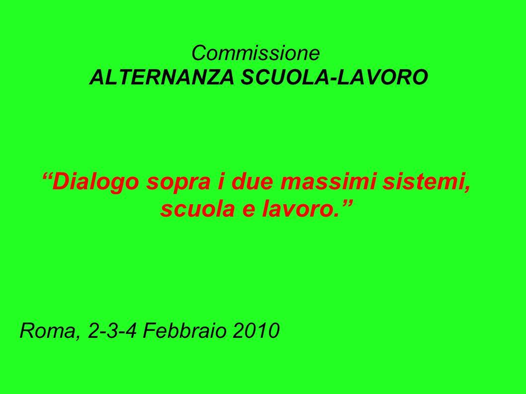 Commissione ALTERNANZA SCUOLA-LAVORO Dialogo sopra i due massimi sistemi, scuola e lavoro.