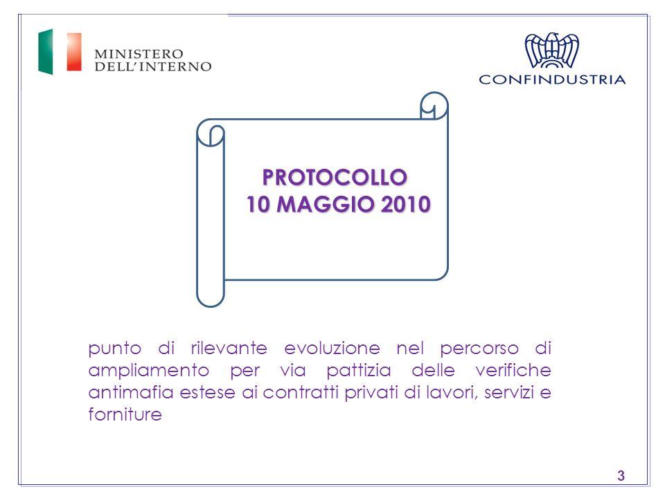 3 punto di rilevante evoluzione nel percorso di ampliamento per via pattizia delle verifiche antimafia estese ai contratti privati di lavori, servizi e forniture PROTOCOLLO 10 MAGGIO 2010 10 MAGGIO 2010