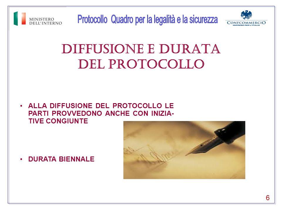 DIFFUSIONE E DURATA del protocollo 6 ALLA DIFFUSIONE DEL PROTOCOLLO LE PARTI PROVVEDONO ANCHE CON INIZIA- TIVE CONGIUNTE DURATA BIENNALE