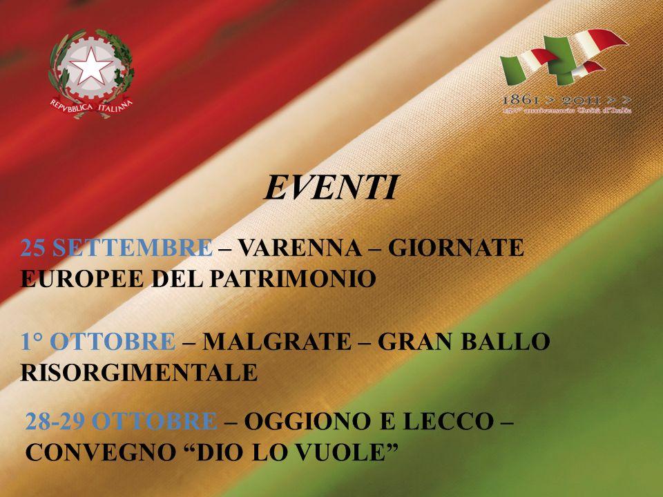 DICEMBRE – LECCO – MOSTRA REPERTI RISORGIMENTALI EVENTI NOVEMBRE – LECCO – SPETTACOLO TEATRALE ITALIA BATTE AUSTRIA 3-0