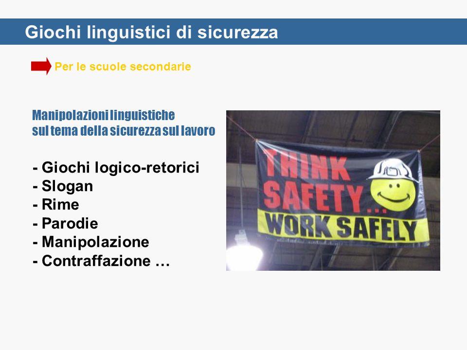 Per le scuole secondarie Giochi linguistici di sicurezza Manipolazioni linguistiche sul tema della sicurezza sul lavoro - Giochi logico-retorici - Slo