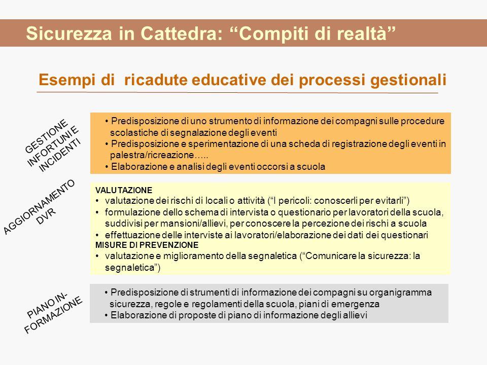 Predisposizione di uno strumento di informazione dei compagni sulle procedure scolastiche di segnalazione degli eventi Predisposizione e sperimentazio
