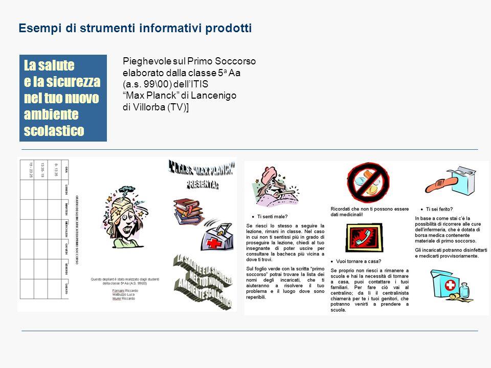 La salute e la sicurezza nel tuo nuovo ambiente scolastico Esempi di strumenti informativi prodotti Pieghevole sul Primo Soccorso elaborato dalla clas