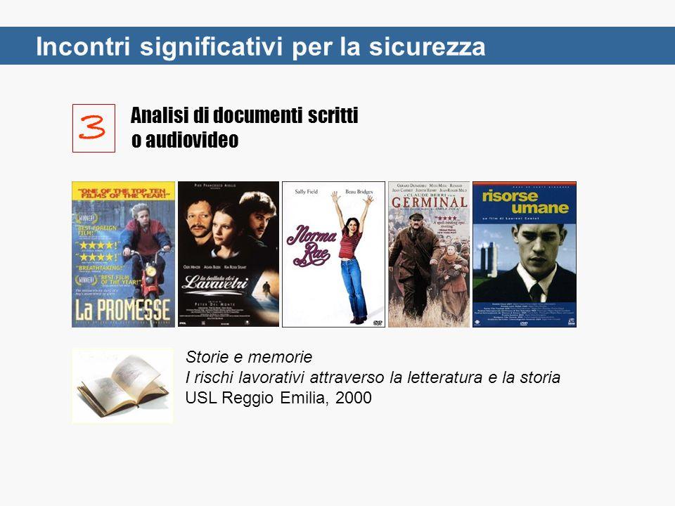 Analisi di documenti scritti o audiovideo 3 Incontri significativi per la sicurezza Storie e memorie I rischi lavorativi attraverso la letteratura e l