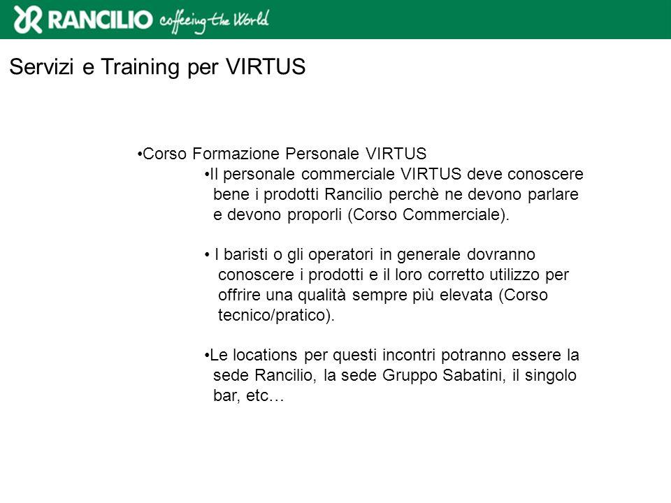 Servizi e Training per VIRTUS Corso Formazione Personale VIRTUS Il personale commerciale VIRTUS deve conoscere bene i prodotti Rancilio perchè ne devo