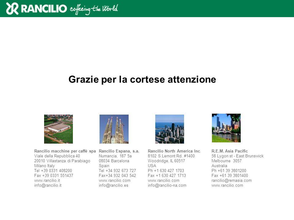 Rancilio macchine per caffè spa Viale della Repubblica 40 20010 Villastanza di Parabiago Milano Italy Tel +39 0331 408200 Fax +39 0331 551437 www.ranc