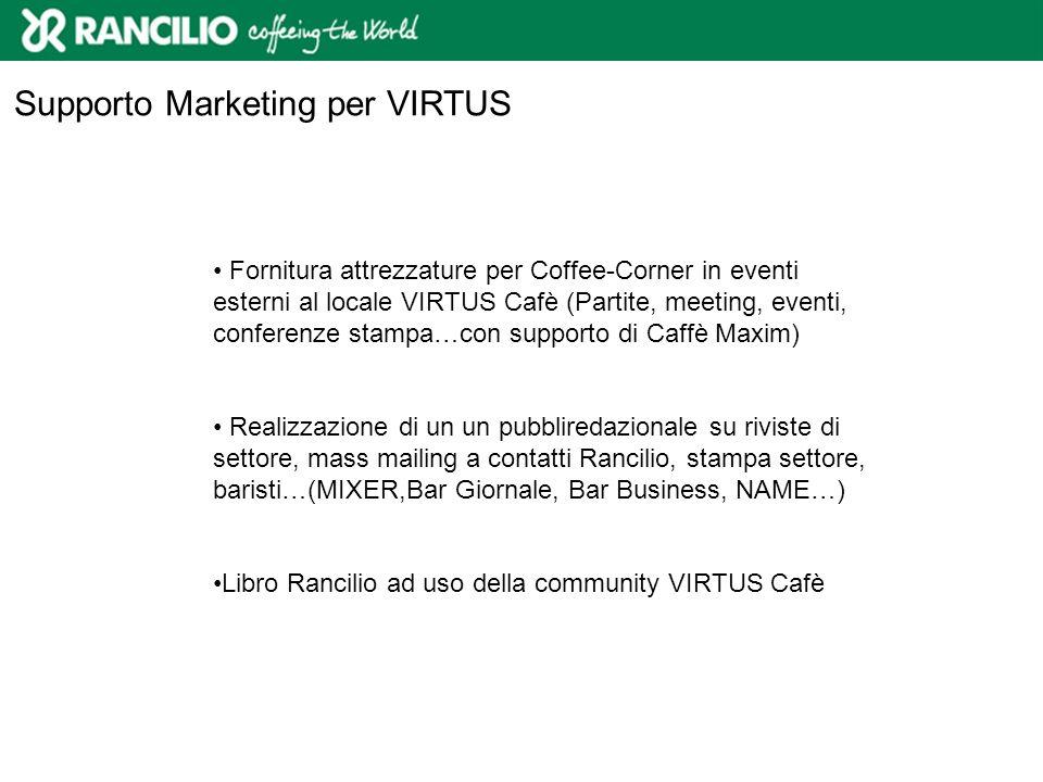 Fornitura attrezzature per Coffee-Corner in eventi esterni al locale VIRTUS Cafè (Partite, meeting, eventi, conferenze stampa…con supporto di Caffè Ma