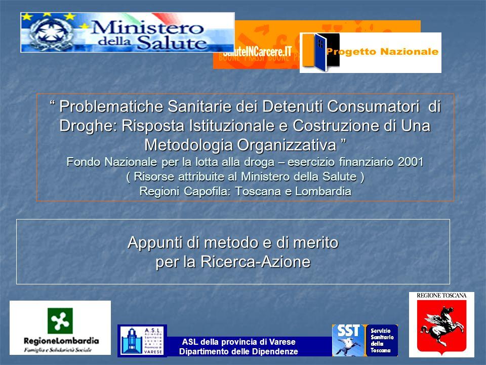 Problematiche Sanitarie dei Detenuti Consumatori di Droghe: Risposta Istituzionale e Costruzione di Una Metodologia Organizzativa Problematiche Sanita