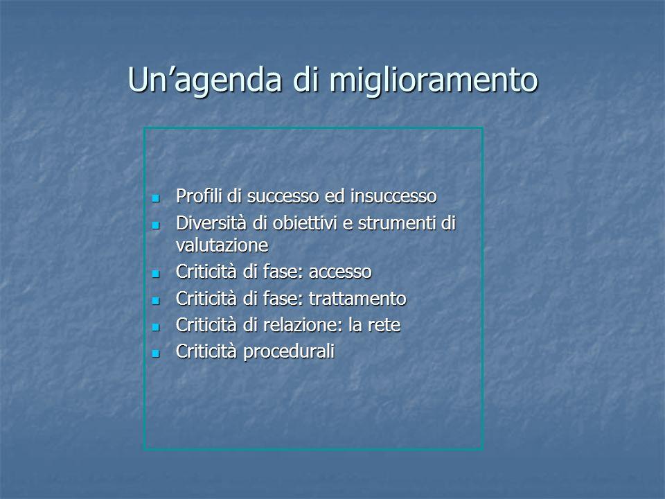Unagenda di miglioramento Profili di successo ed insuccesso Profili di successo ed insuccesso Diversità di obiettivi e strumenti di valutazione Divers