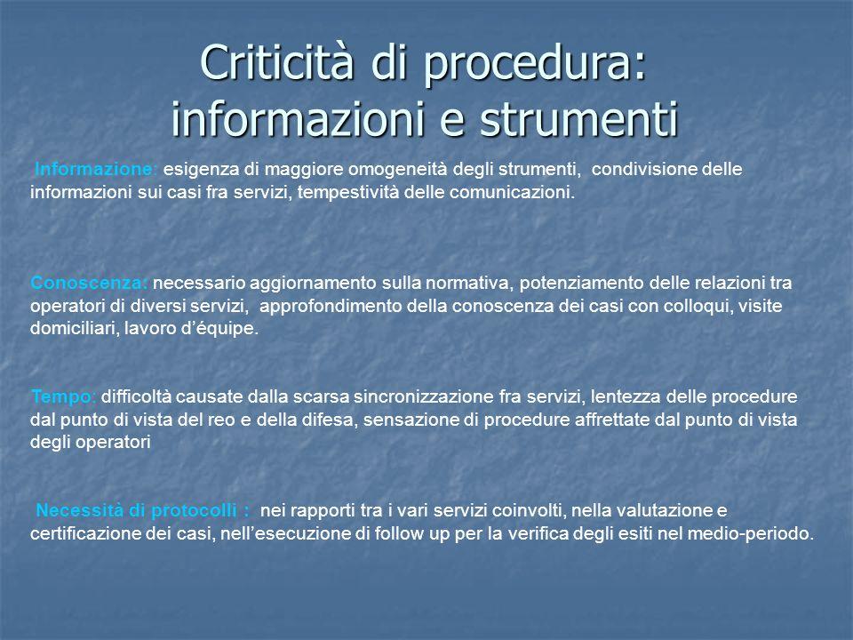 Criticità di procedura: informazioni e strumenti Informazione: esigenza di maggiore omogeneità degli strumenti, condivisione delle informazioni sui casi fra servizi, tempestività delle comunicazioni.