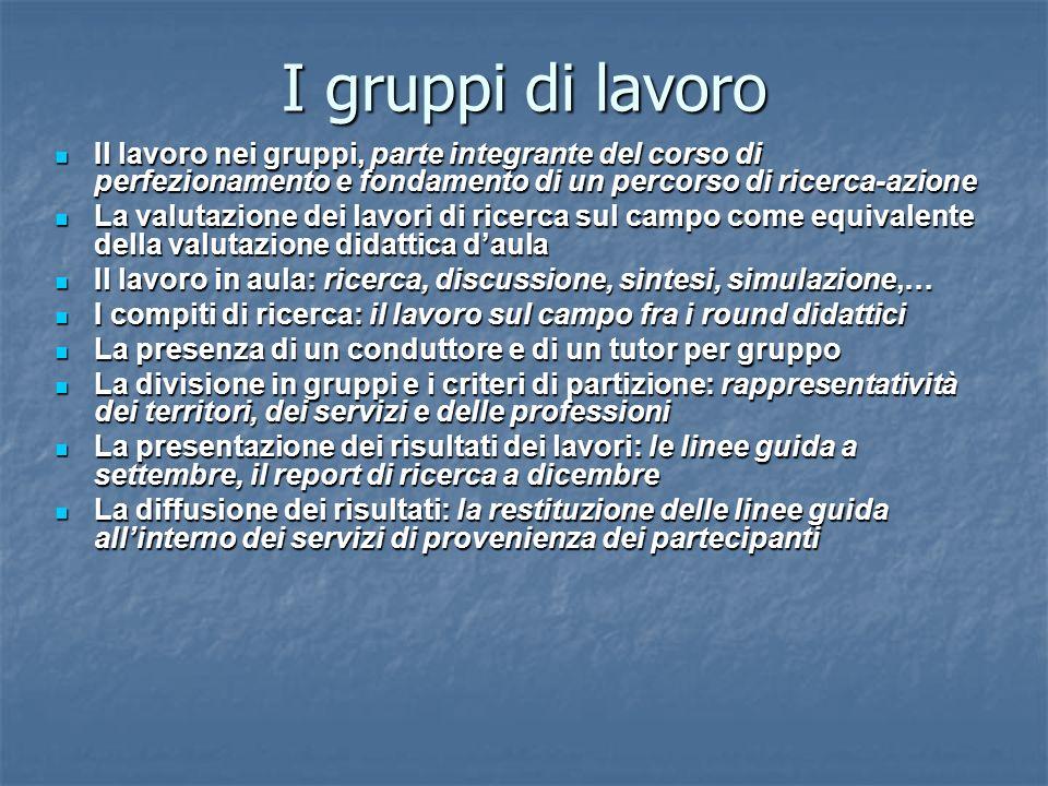I gruppi di lavoro Il lavoro nei gruppi, parte integrante del corso di perfezionamento e fondamento di un percorso di ricerca-azione Il lavoro nei gru