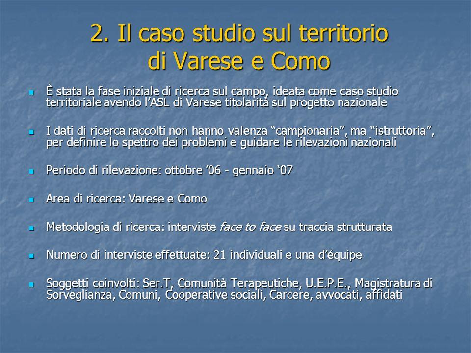 2. Il caso studio sul territorio di Varese e Como È stata la fase iniziale di ricerca sul campo, ideata come caso studio territoriale avendo lASL di V