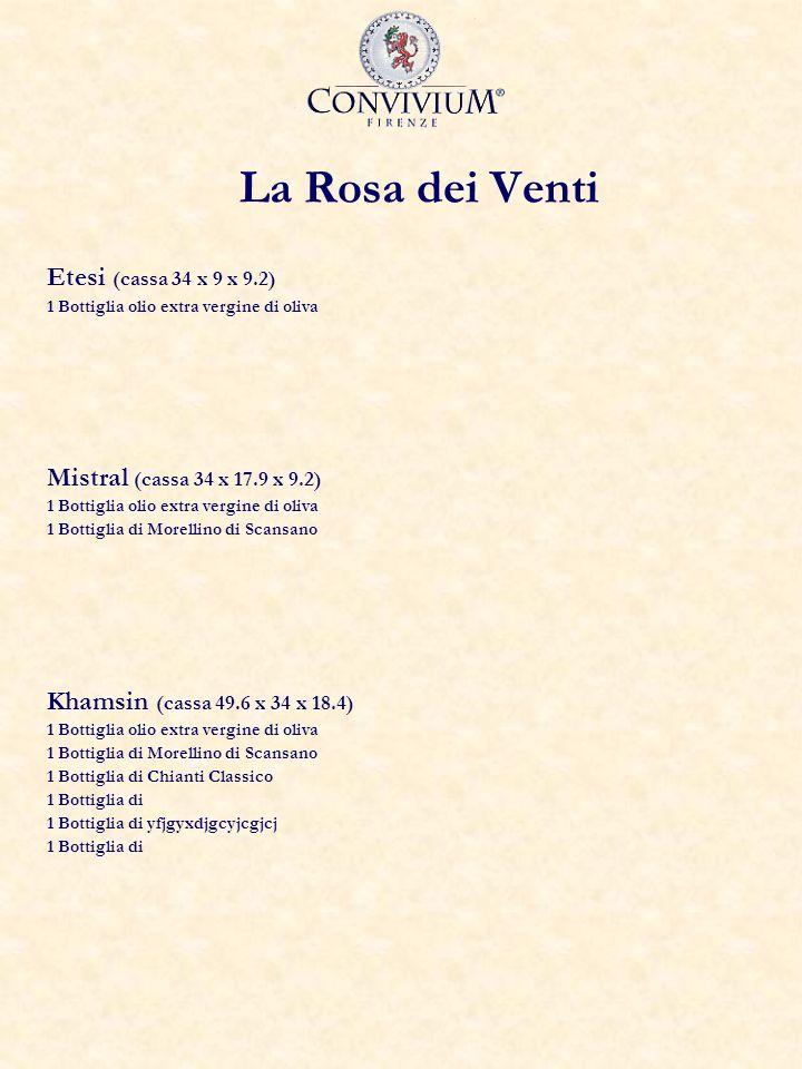 La Rosa dei Venti Etesi (cassa 34 x 9 x 9.2) 1 Bottiglia olio extra vergine di oliva Mistral (cassa 34 x 17.9 x 9.2) 1 Bottiglia olio extra vergine di oliva 1 Bottiglia di Morellino di Scansano Khamsin (cassa 49.6 x 34 x 18.4) 1 Bottiglia olio extra vergine di oliva 1 Bottiglia di Morellino di Scansano 1 Bottiglia di Chianti Classico 1 Bottiglia di 1 Bottiglia di yfjgyxdjgcyjcgjcj 1 Bottiglia di